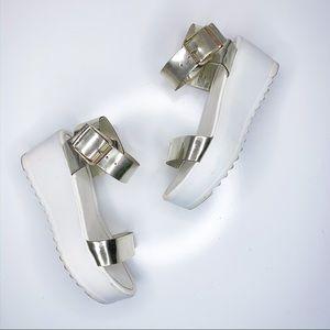 Gold Metallic Strap Platform Wedge Sandals